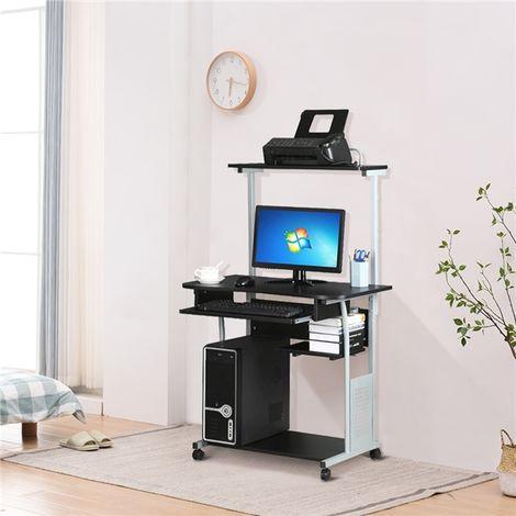 Yaheetech Scrivania Computer Pc E Stampante Con Ruote Ufficio Mobile Tavolo Per Computer E Stampante Tastiera