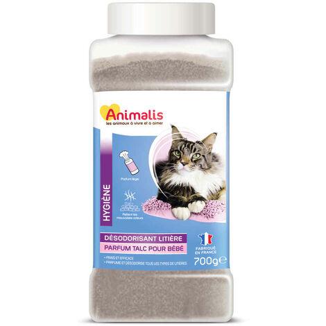 Animalis - Désodorisant pour Litière Parfum Talc Bébé pour Chat - 700g