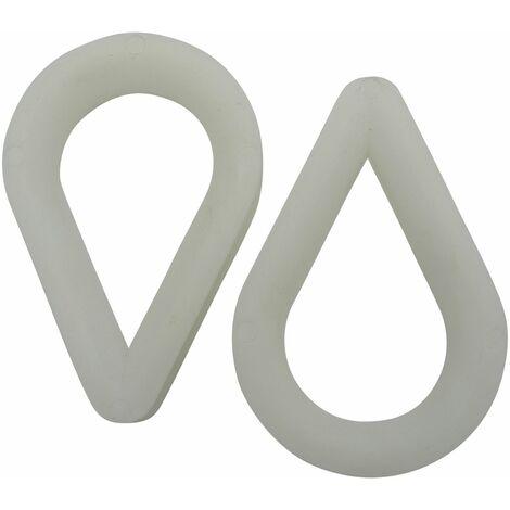 x2 10MM White Nylon Soft Rope Thimbles - Marine Eye Slicing Loop