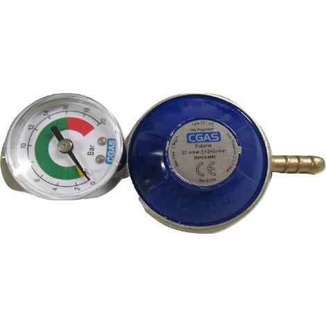 Butane Gas Regulator with Gauge - G8 Nut Calor Gas Screw On 30mbar