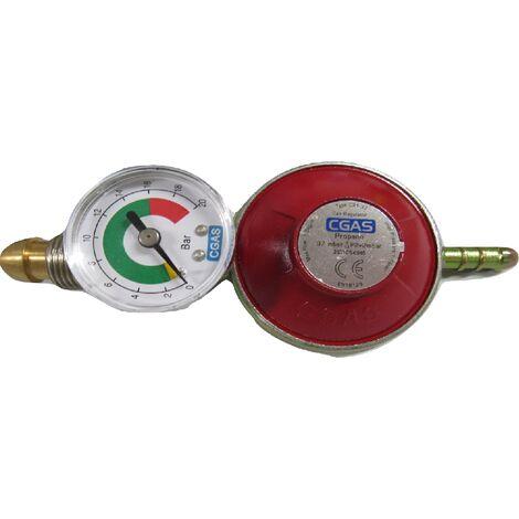 Propane Regulator with G7 Nut Inlet & Gauge - Calor Gas Hand Wheel BBQ