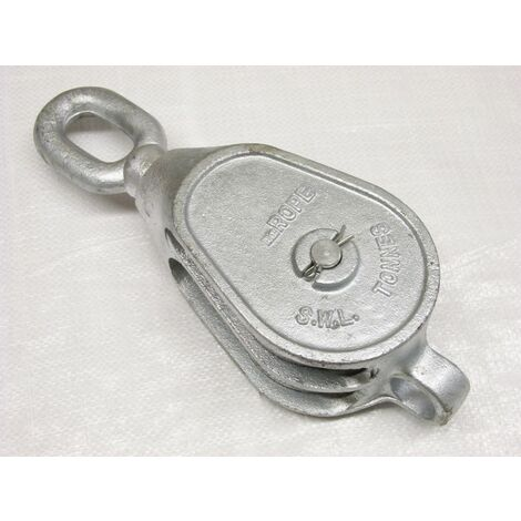 """2.6 Ton 8"""" GMI Double Block With Swivel Eye Galvanised - 28MM Fibre Rope Safety Lifting"""