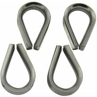 Stainless Steel Wire Rope Thimbles 4MM x4 (Marine Webbing Boat Cable Loop)