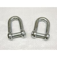 x2 6MM Galvanised Commercial Dee Shackles With Countersunk Pin - Chain Connect Caravan Tether Flush
