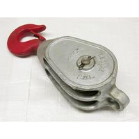 """0.4 Ton 3"""" Red Head GMI Double Sheave Block With Swivel Hook Galvanised - 12MM Wire Rope Safety Lift"""