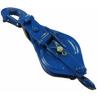 1.5 Ton 125MM Double Sheave Snatch Block With Swivel Hook Blue Painted - 13MM Wire Rope Safe Lifting