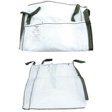 Big Bag charges lourdes 1000 litres en polypropylène (PP) 180g/m2 robuste, indéchirable et polyvalent - certifié 1500 Kg - 4 sangles de levage - Dimensions : 95 x 95 x 110 cm