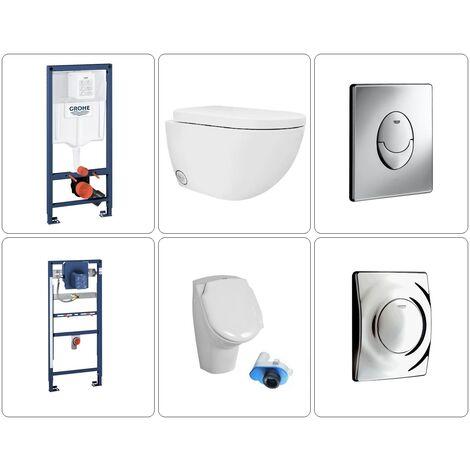 Wand WC spülrandlos mit Deckel und Urinal Grohe Set, chrom