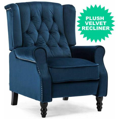 Luxury Life Althorpe Reclining Armchair Manual Push Back Recliner Small Sofa. Gaming Bedroom Armchair (Blue, Velvet)