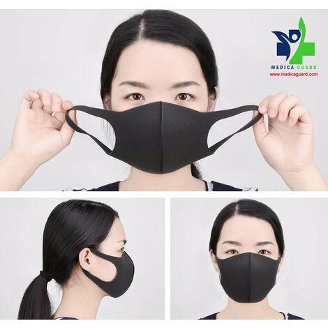 Masque Lavable Adulte 30 fois noir – Pack de 3