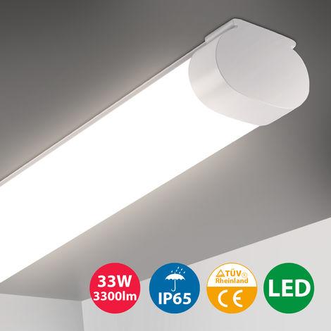 Oeegoo Tubo LED 120CM, 33W Luz de techo de iluminación potente, IP65 a prueba de agua, 3300LM, tira de luz LED, lámpara de techo para taller, garaje, oficina, terraza, bodega, luz blanca neutra 4000K