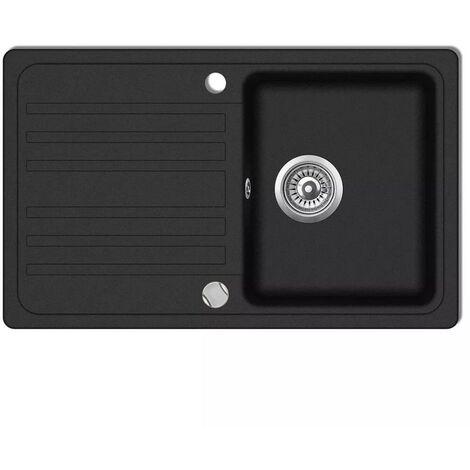 Granite Kitchen Sink Single Basin with Drainer Reversible Black VD04091