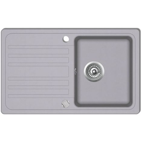 Granite Kitchen Sink Single Basin with Drainer Reversible Grey VD04092