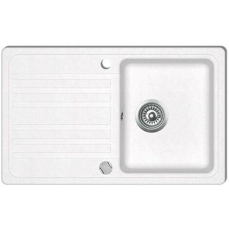 Granite Kitchen Sink Single Basin with Drainer Reversible Cream White VD04093