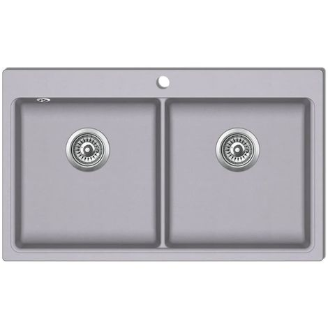 Overmount Kitchen Sink Double Basin Granite Grey VD04098
