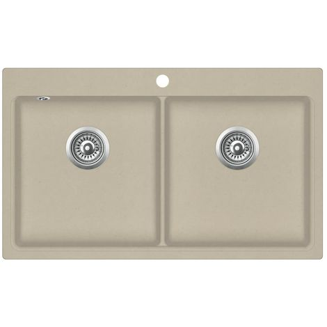 Hommoo Granite Kitchen Sink Double Basins Beige VD06238