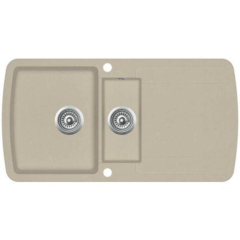 Hommoo Granite Kitchen Sink Double Basins Beige VD06241