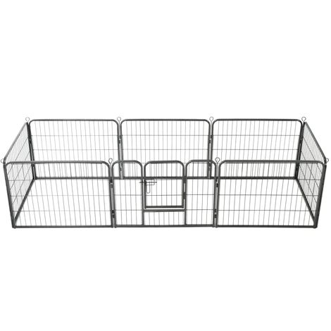 Hommoo Dog Playpen 8 Panels Steel 80x60 cm Black