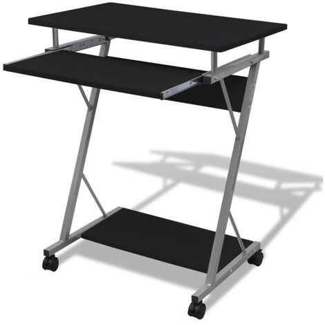 Hommoo Compact Computer Desk with Pull-out Keyboard Tray Black VD07398