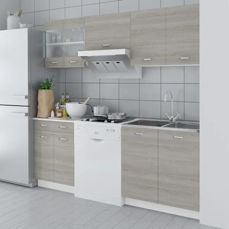 Hommoo Oak Look Kitchen Cabinet Unit 5 pcs 200 cm VD08731
