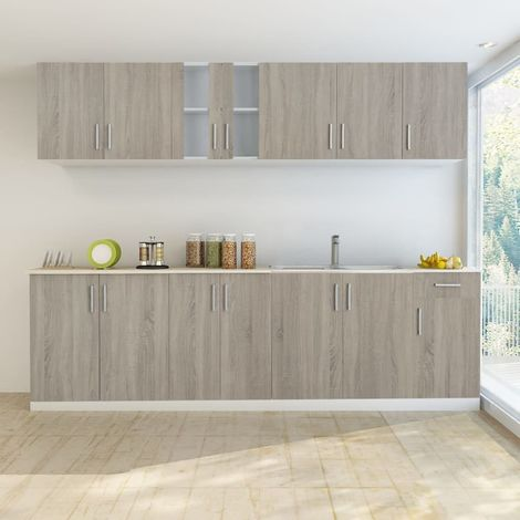 Hommoo Kitchen Cabinet with Sink Base Unit 8 Pieces Oak Look VD08735