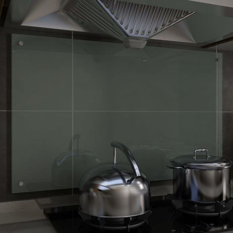 Hommoo Kitchen Backsplash White 100x60 cm Tempered Glass