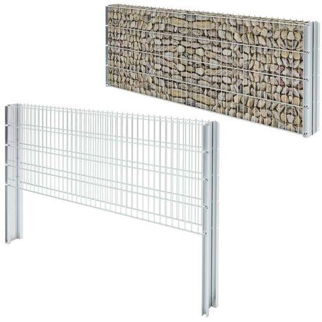 Hommoo 2D Gabion Fence Galvanised Steel 2008x830 mm 10 m Silver VD17445