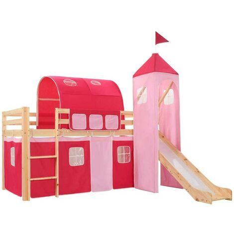 Hommoo Children's Loft Bed Frame with Slide & Ladder Pinewood 97x208 cm VD23798