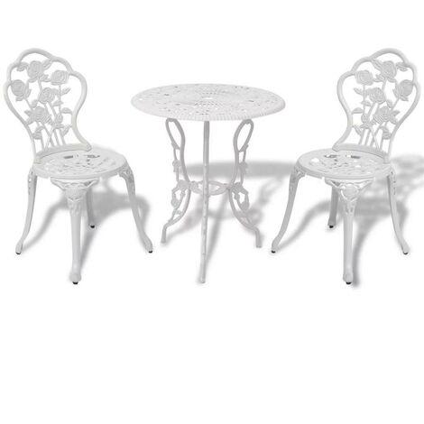 Hommoo 3 Piece Bistro Set Cast Aluminium White VD26834