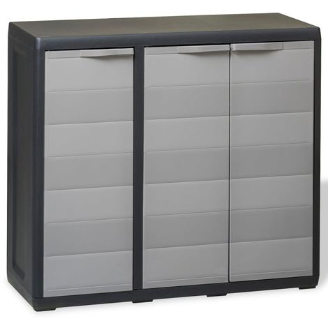 Hommoo Garden Storage Cabinet with 2 Shelves Black and Grey VD27992