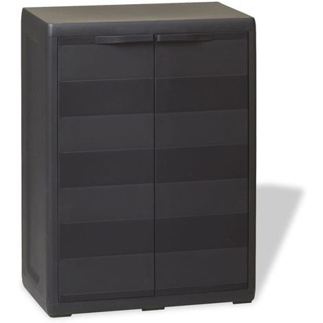 Hommoo Garden Storage Cabinet with 1 Shelf Black VD27993