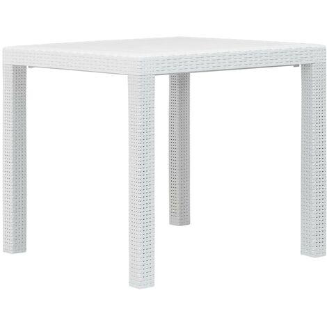 Hommoo Garden Table White 79x79x72 cm Plastic Rattan Look VD29731