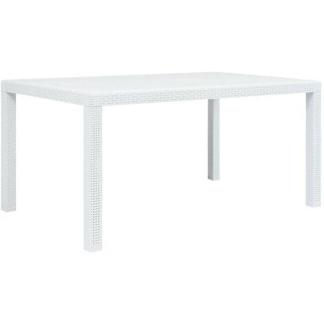 Hommoo Garden Table White 150x90x72 cm Plastic Rattan Look VD29734