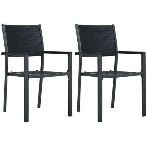 Hommoo Garden Chairs 2 pcs Black Plastic Rattan Look VD30266