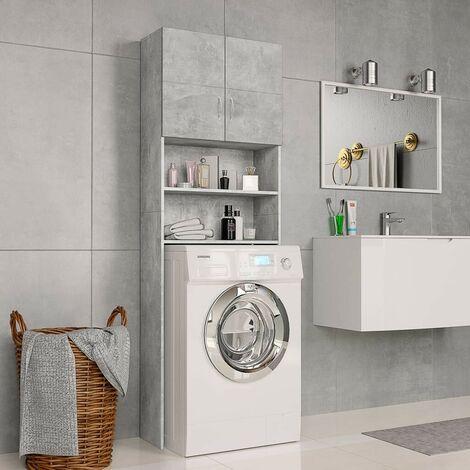 Hommoo Washing Machine Cabinet Concrete Grey 64x25.5x190 cm Chipboard VD31060