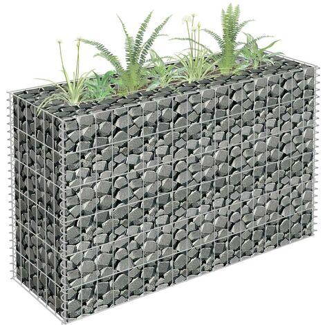 Hommoo Gabion Planter Galvanised Steel 90x30x60 cm VD35164