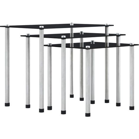 Hommoo Nesting Tables 3 pcs Black Tempered Glass