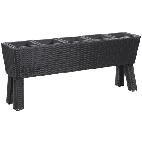 Hommoo Garden Planter with Legs and 5 Pots 118x25x50 cm Poly Rattan Black VD45670