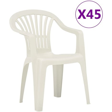 Hommoo Stackable Garden Chairs 45 pcs Plastic White VD48307