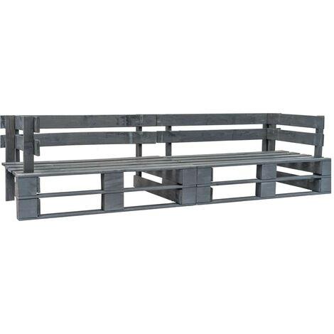 Hommoo Garden 2-Seater Sofa Pallets Grey FSC Wood VD19132