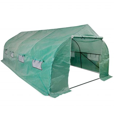 Hommoo Portable Polytunnel Greenhouse Steel Frame Walk-in 18 m2 VD27376