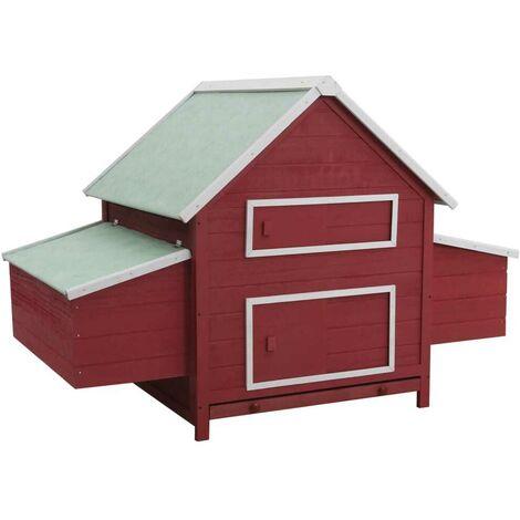 Hommoo Chicken Coop Red 157x97x110 cm Wood