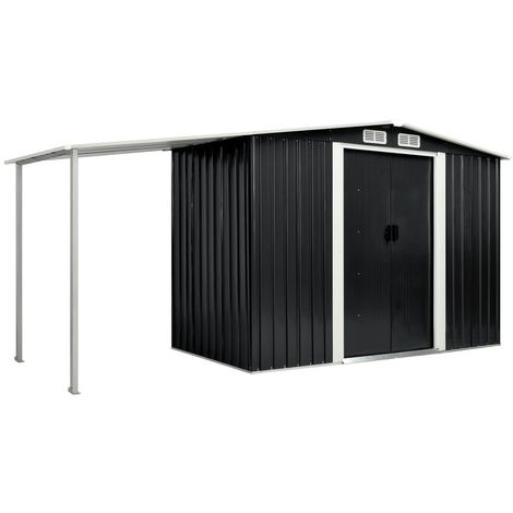 Hommoo Garden Shed with Sliding Doors Anthracite 386x131x178 cm Steel VD05886