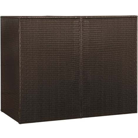 Hommoo Double Wheelie Bin Shed Brown 153x78x120 cm Poly Rattan VD45635