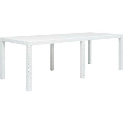 Hommoo Garden Table White 220x90x72 cm Plastic Rattan Look VD29737