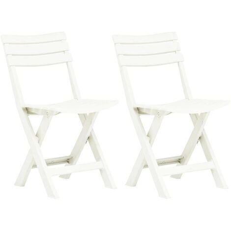 Hommoo Folding Garden Chairs 2 pcs Plastic White VD46676