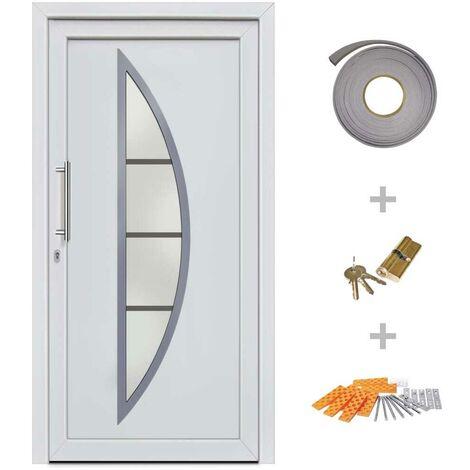 Hommoo Front Entrance Door White 108x208 cm VD21436