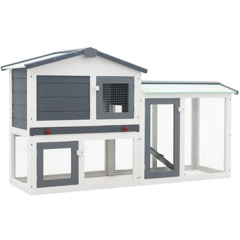 Hommoo Outdoor Large Rabbit Hutch Grey and White 145x45x85 cm Wood VD35621