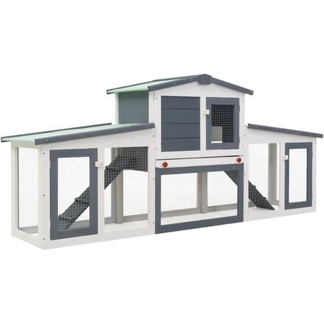Hommoo Outdoor Large Rabbit Hutch Grey and White 204x45x85 cm Wood VD35624