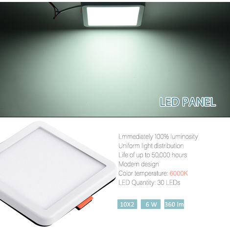 Hommoo 4 Piece 6W Free Opening Panel Light Cool White Square LLDDE-ZM0900631X4